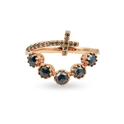Brilliant Rose-Cut Blue & Champagne Diamond 14K Rose Gold Wrap Cross Ring