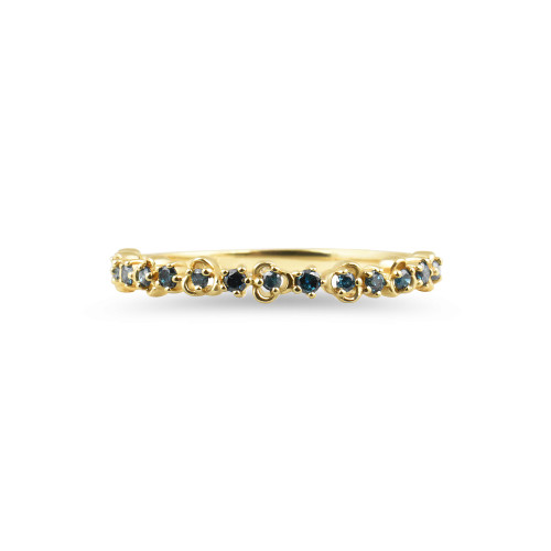 "Blue Diamond 14K Yellow Gold ""Vine"" Style Stackable Ring"