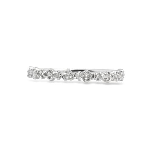 "White Diamond 14K White Gold ""Vine"" Style Stackable Ring"