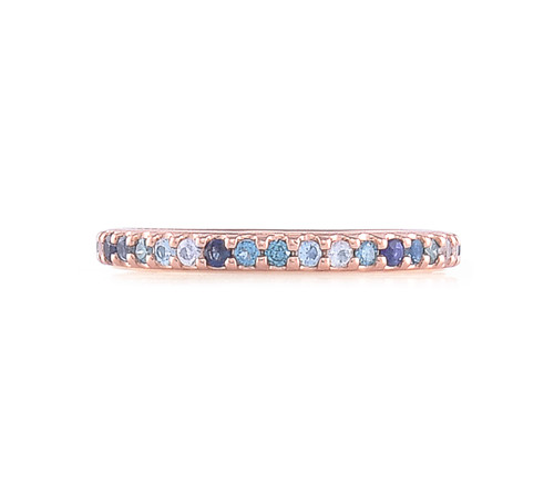 Blue Diamonds 14K Rose Gold Semi-Precious & Precious Stone Eternity Ring Band