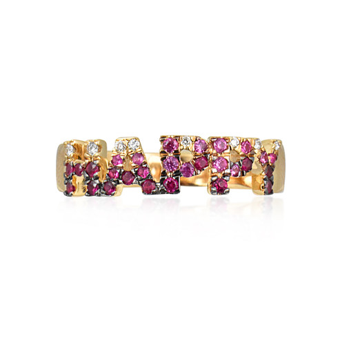 "White Diamonds & Multi Sapphire Pink Ombre Stones 14K Yellow Gold Block Letter ""HAPPY"" Ring"