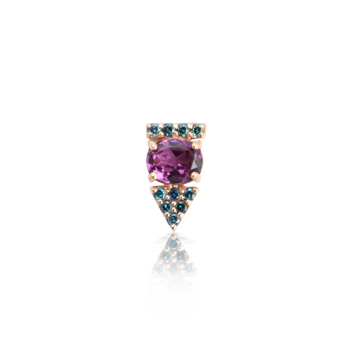 Blue Diamonds & Rhodolite 14K Rose Gold  Arrow Stud, Single