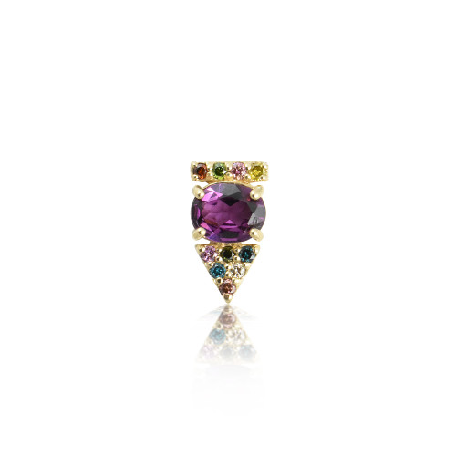 Rainbow Diamonds & Rhodolite 14K Yellow Gold Arrow Stud, Single