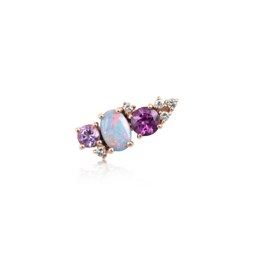 White Diamond 14K Rose Gold Mini Ear Climber w/ Rhodolite, Purple Amethyst &  Opal  - Left Ear
