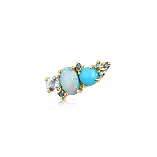 Blue Diamond 14K Yellow Gold Mini Ear Climber w/ Aquamarine, Turquoise &  Opal - Left Ear