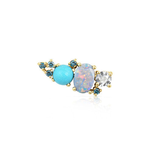 Blue Diamond 14K Yellow Gold Mini Ear Climber w/ Aquamarine, Turquoise & Opal - Right Ear