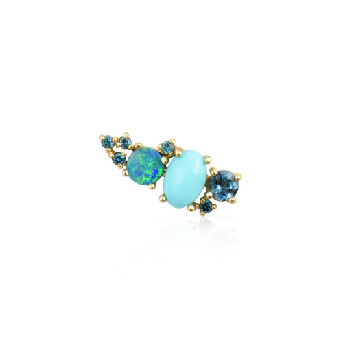 Blue Diamond 14K Yellow Gold Mini Ear Climber w/ London Blue Topaz, Turquoise & Opal - Right Ear