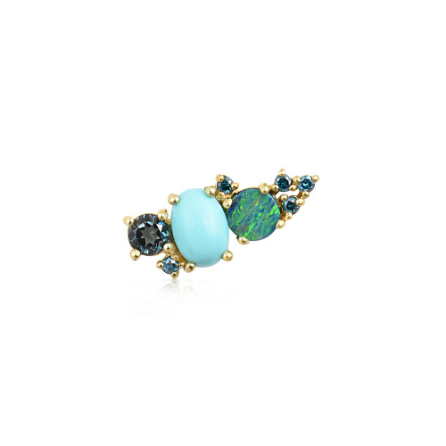 Blue Diamond 14K Yellow Gold Mini Ear Climber w/ London Blue Topaz, Turquoise &  Opal - Left Ear