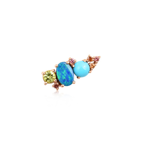 Multi-Pink Diamond 14K Rose Gold Mini Ear Climber w/ Peridot, Turquoise & Doublet Opal - Left Ear