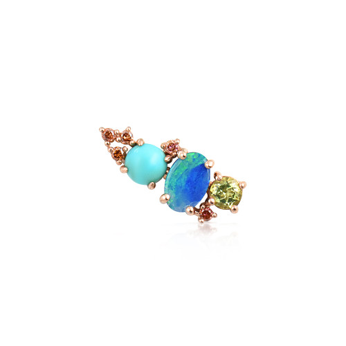Multi-Pink Diamonds 14K Rose Gold Mini Ear Climber w/ Peridot, Turquoise &  Opal - Right Ear