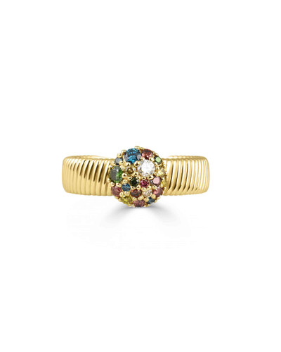 Rainbow Diamonds 14K Yellow Gold Think Textured Band Ring