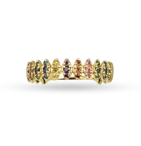 "Rainbow Diamonds 14K Yellow Gold ""Zig-Zag"" Ring"