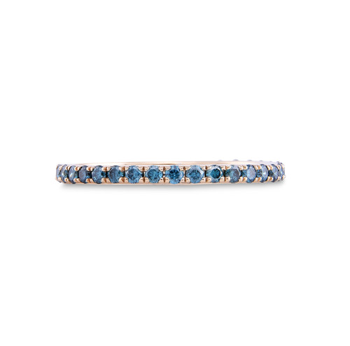 Blue Diamond 14K Yellow Gold Micro Pave Eternity Band