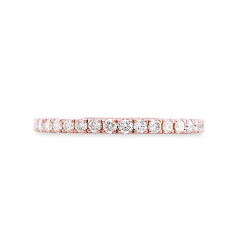 White Diamond 14K Rose Gold Micro Pave Eternity Band