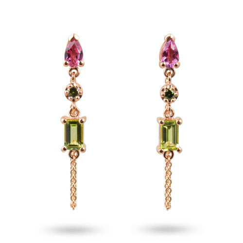 Green Diamond, Tourmaline, & Peridot 14K Rose Gold Dangle Earrings with Chain
