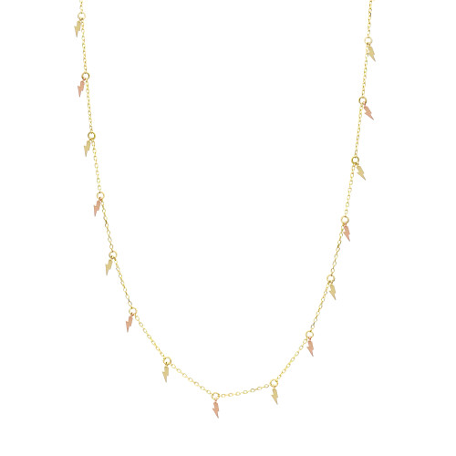Two-Toned Solid 14K Yellow & Rose Gold Long Lightning Bolt Necklace