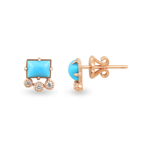 White Diamonds  & Turquoise 14K Rose Gold Geometric Single Stud