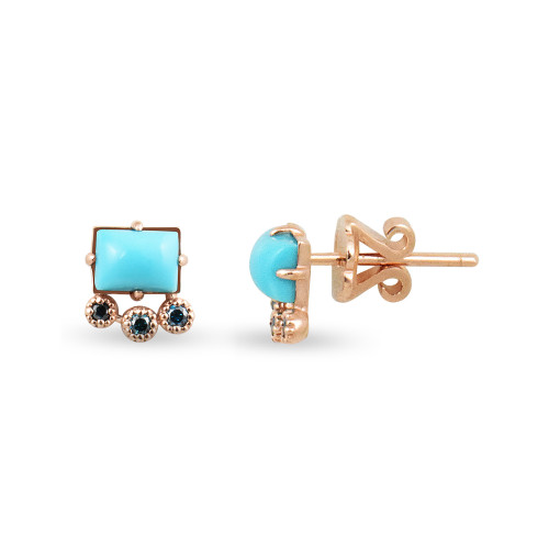 Blue Diamonds & Turquoise 14K Rose Gold & Geometric Single Stud