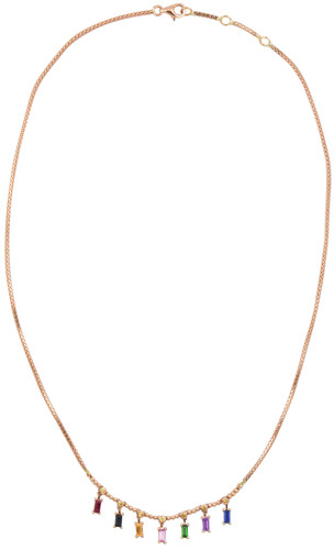 Yellow Diamond 14K Rose Gold Sapphire Baguette Dangle Necklace