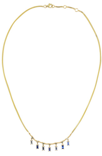 Blue Diamond 14K Yellow Gold Sapphire Baguette Dangle Necklace