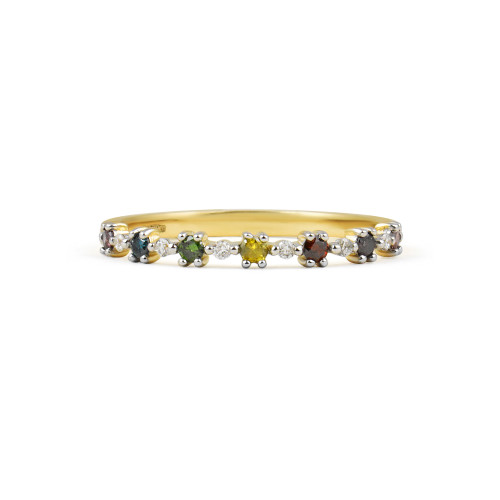"Rainbow Diamond 14K Yellow Gold ""Flowerette"" Style Stackable Ring"