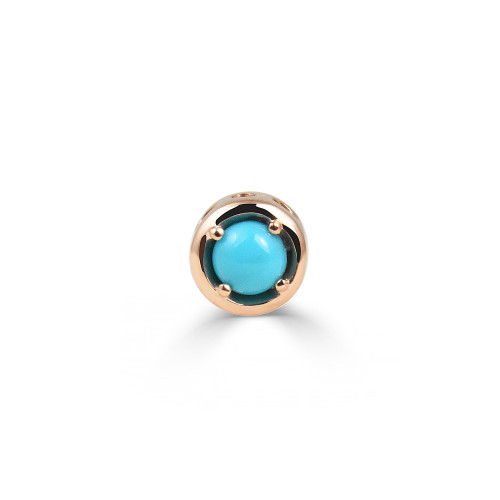 Turquoise 14K Rose Gold Round Charm with White Diamond