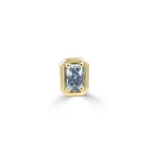 Aquamarine 14K Yellow Gold Emerald Cut Charm with Blue Diamond