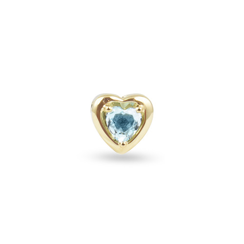 Sky Blue Topaz 14K Yellow Gold  Heart-Shaped Charm with White Diamonds