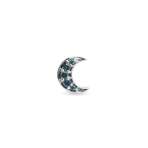Blue Diamonds Crescent Moon Charm 14K White Gold