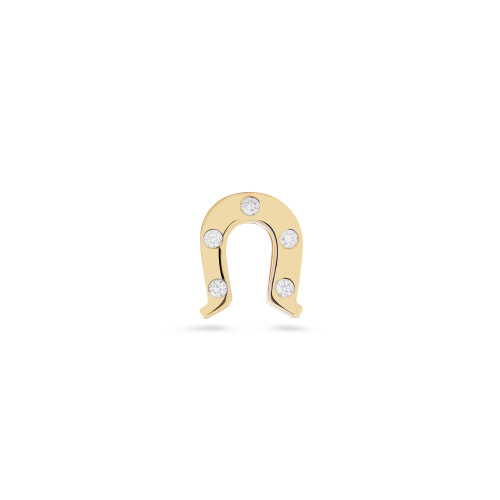 "Bezel Set White Diamond 14K Yellow Gold Horseshoe Charm with ""Lucky"" Message"