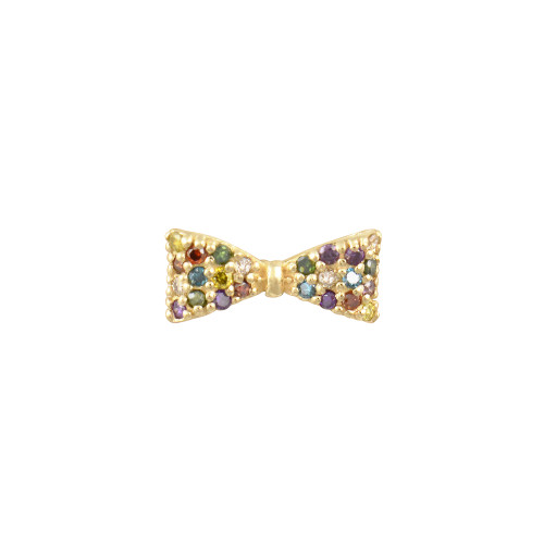 Rainbow Diamond 14K Yellow Gold Bow Stud