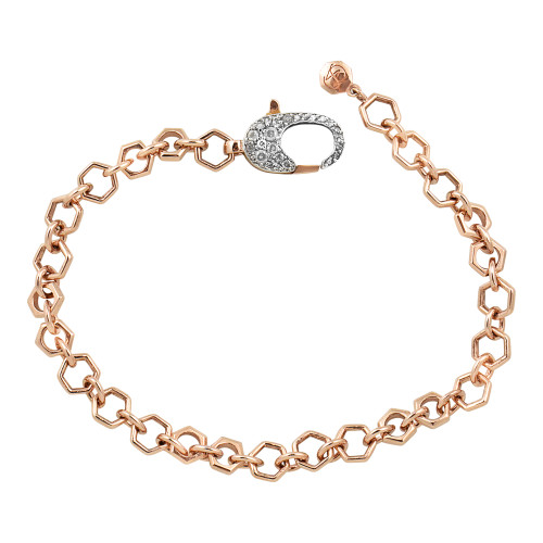Gray Diamond 14K Rose Gold Heavy Octagon Chain Bracelet