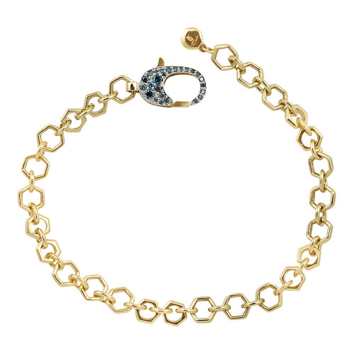 Blue Diamond 14K Yellow Gold Heavy Octagon Chain Bracelet