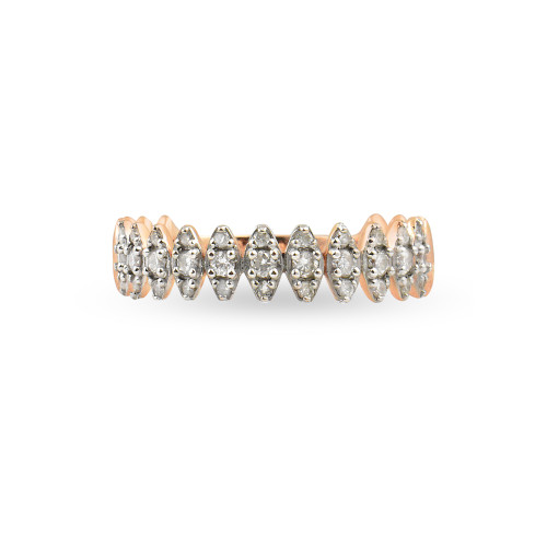 "White Diamond 14K Rose Gold ""Zig-Zag"" Ring"