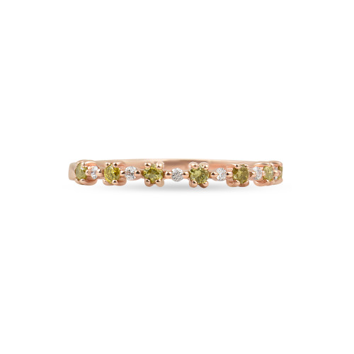"Yellow Diamond 14K Rose Gold ""Flowerette"" Style Stackable Ring"