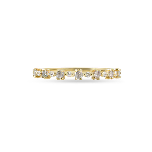 "White Diamond 14K Yellow Gold ""Flowerette"" Style Stackable Ring"