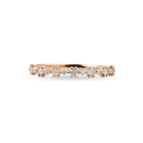 "Salt & Pepper Diamond 14K Rose Gold ""Flowerette"" Style Stackable Ring"