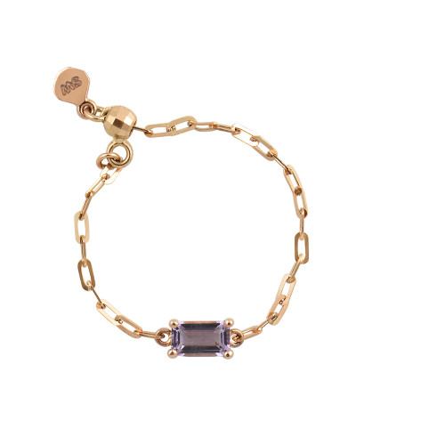 "Lavender Amethyst 18K Rose Gold ""Perfect Fit"" Baguette Adjustable Chain Ring"