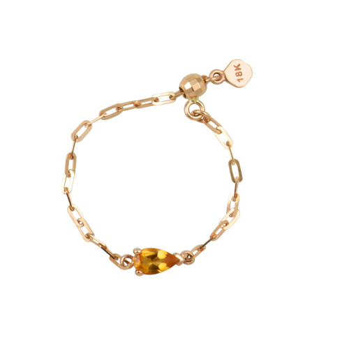 "Pear Shape Citrine 18K Rose Gold ""Perfect Fit"" Adjustable Chain Ring"