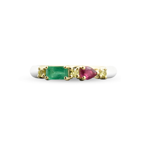 Emerald & Ruby 14K Yellow Gold White Enamel Ring with Yellow Diamonds
