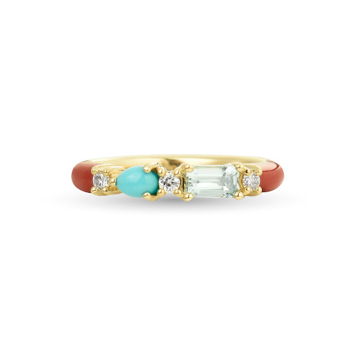 Aquamarine & Turquoise 14K Yellow Gold Red Enamel Ring with White Diamonds