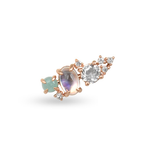 White Diamond 14K Rose Gold Mini Ear Climber w/ Rainbow Moonstone, White Topaz, & Amazonite  - Left Ear