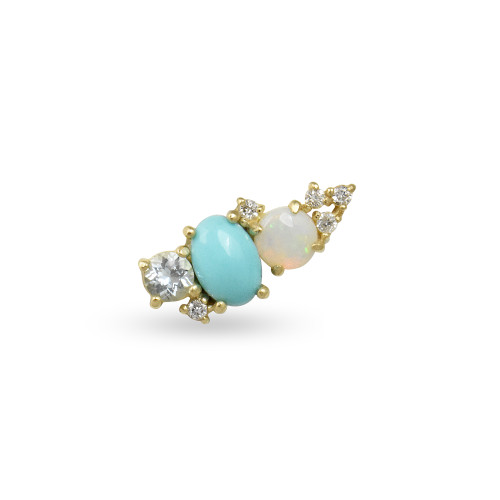 White Diamond 14K Rose Gold Mini Ear Climber w/ Aquamarine, Opal, & Turquoise - Left Ear