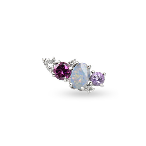 White Diamond 14K White Gold Mini Ear Climber w/ Lavender Amethyst, Opal, & Rhodolite  - Right Ear