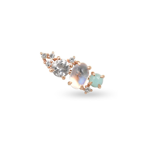 White Diamond 14K Rose Gold Mini Ear Climber w/ Rainbow Moonstone, White Topaz, & Amazonite  - Right Ear
