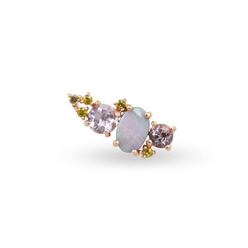 Yellow Diamond 14K Rose Gold Mini Ear Climber w/ Lavender Amethyst & Opal - Right Ear