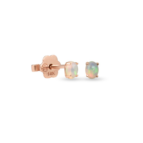 Oval Opal 14K Rose Gold Cabochon Stud, Single