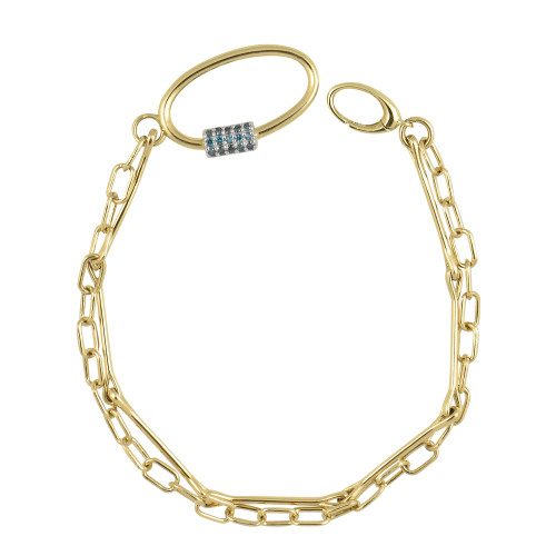 Blue Diamond 14K Yellow Gold Double Chain Oval Clap Bracelet