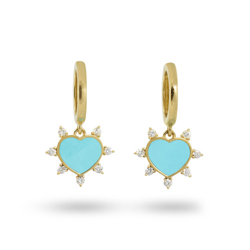 White Diamond 14K Yellow Gold Turquoise Heart Dangle Hoops Earrings