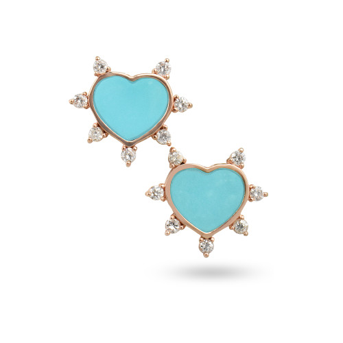 White Diamond 14K Rose Gold Turquoise Heart Stud Earrings